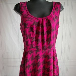 hot Pink and black houndstooth dress size Large